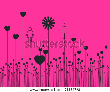 Valentine illustration with boy and girl silhouettes - stock vector