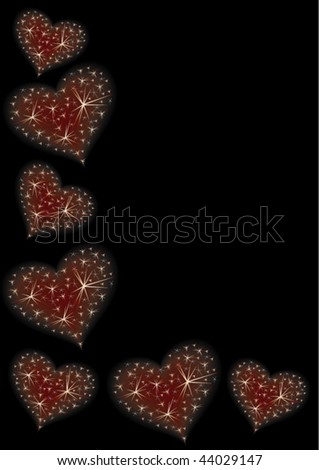 Valentine illustration with hearts and stars.