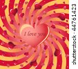 valentine in background of swirled rays and hearts - stock vector