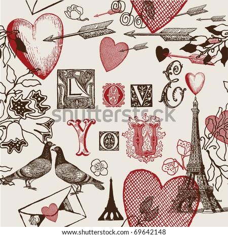 valentine love background - stock vector