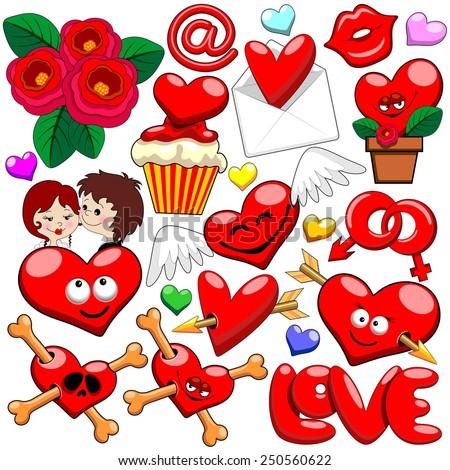 Valentine Love Heart Doodles - stock vector