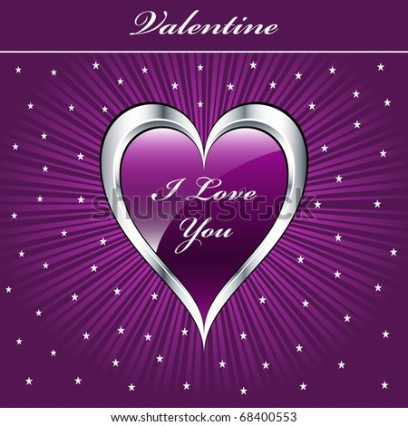 Valentine love heart in purple and silver on sunburst background with stars. Copyspace for text. Raster also available.