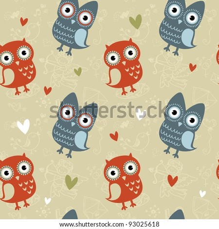 Valentine love seamless texture with cute owls and hearts, endless romantic pattern. - stock vector