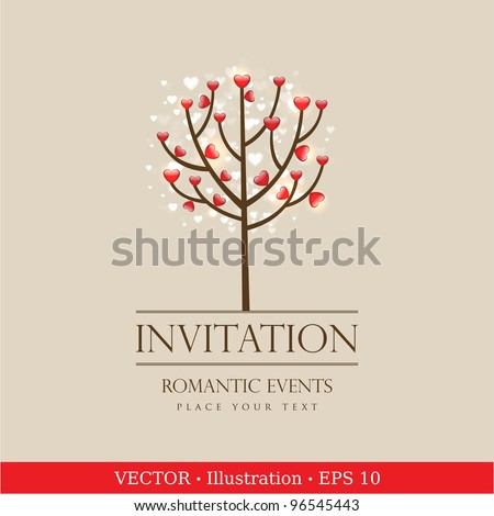 Valentine love tree with hearts.  Invitation vintage card.  Wedding or Valentine`s Day.  Vector illustration - stock vector