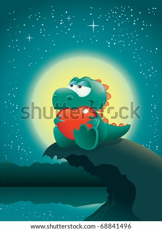 Valentine night scene with an adorable baby dinosaur deeply in love. The vector file is layered for easier editing. Great spacing for text, perfect for any Valentine's Day illustration needs! - stock vector