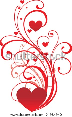 valentine ornament with heart-shapes - stock vector