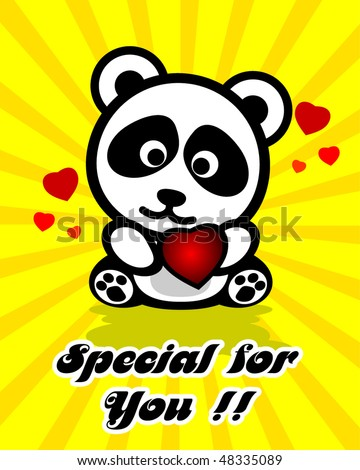 """valentine panda with love """"special for you"""" - stock vector"""