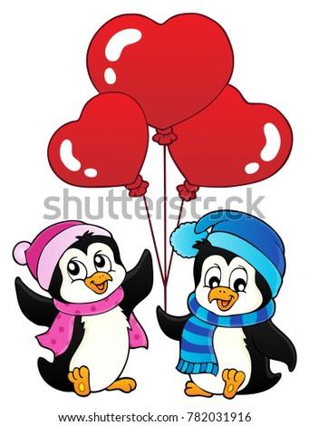 Valentine Penguins Thematics 1   Eps10 Vector Illustration.