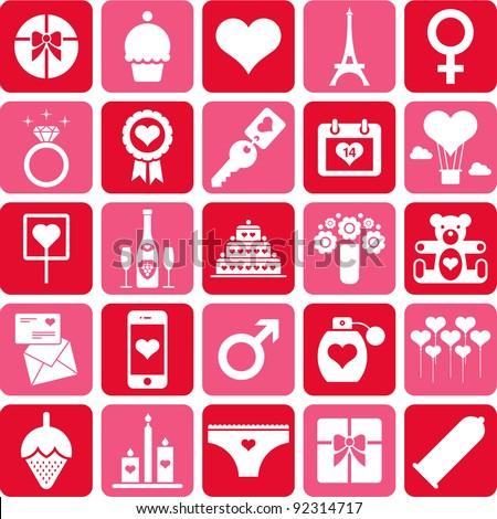 Valentine pictograms - stock vector