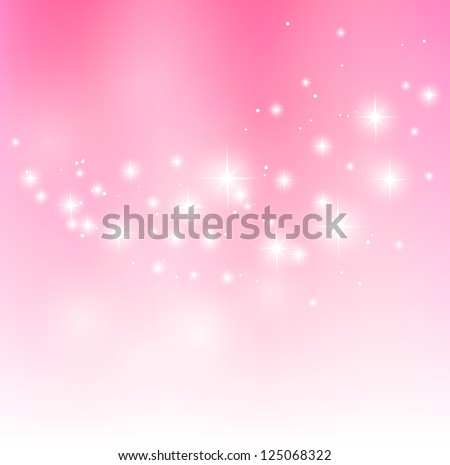 Valentine pink background with starry lights - stock vector