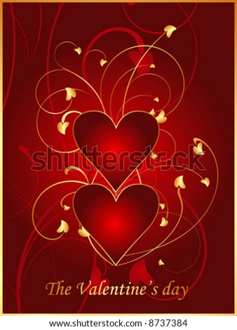 valentine postcard red gold hearts stock vector royalty free