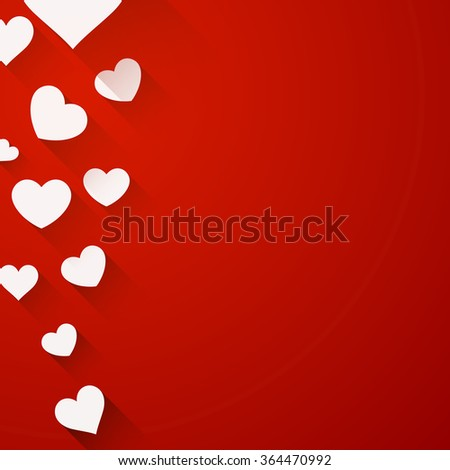 Valentine red background with white hearts. Vector paper illustration.