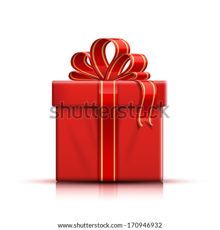 Valentine red gift box with ribbon and bow. Vector illustration - stock vector