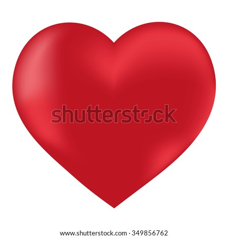 Valentine red heart on a white background. Romantic card for Valentine's Day. Isolated object, vector