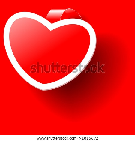 Valentine red sticker in the shape of a red heart with a white border. Vector  illustration. - stock vector