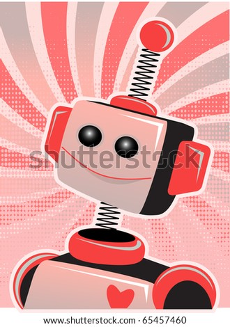 Valentine Robot Portrait Smiling Swirl and Halftone  vector illustration - stock vector