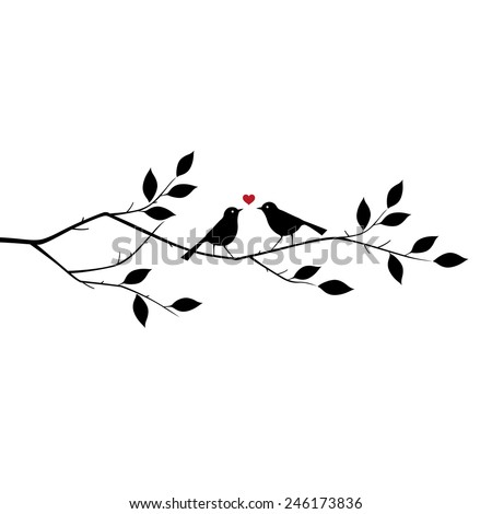 Valentine's background with birds in love at Branch for you. vector illustration - stock vector