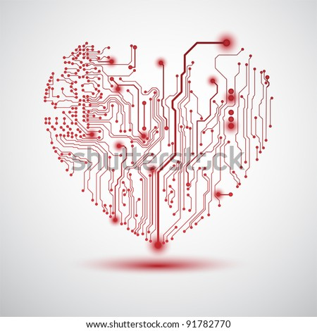 Valentine's background with circuit board on heart shape - stock vector