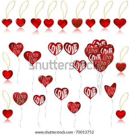 Valentine's balloons and necklaces isolated on white VECTOR