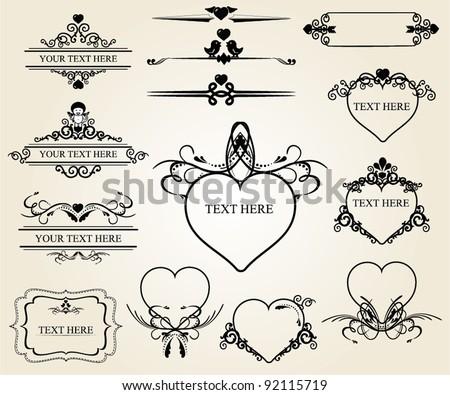 Valentine's calligraphic design elements - stock vector