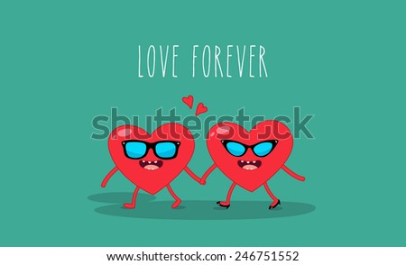 Valentine's card. Valentine's heart. Love forever. Two red love heart glasses - stock vector