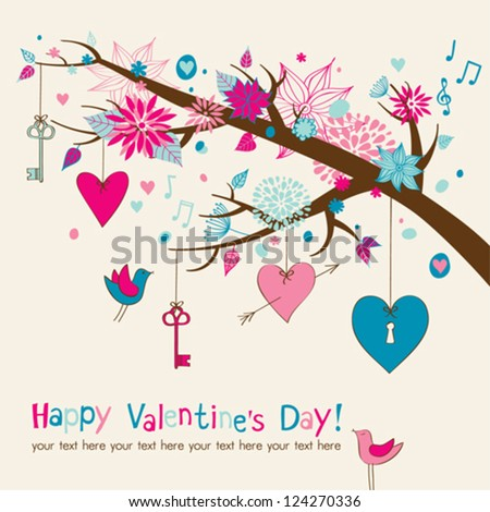Valentine's Card with beautiful branch - stock vector