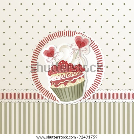 Valentine's card with cupcake and hearts decorations - stock vector
