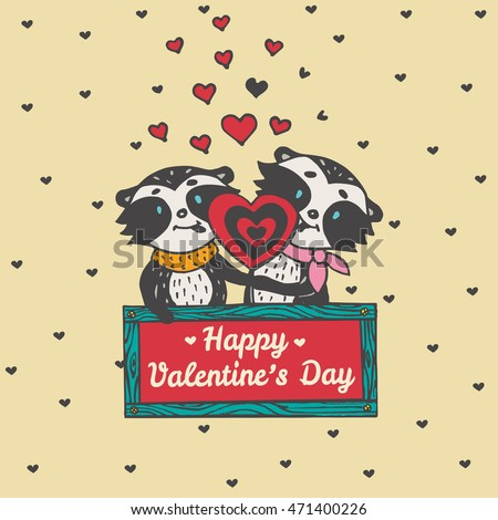 Valentine's card with Raccoon couple. Vector illustrated raccoon couple on beige background.