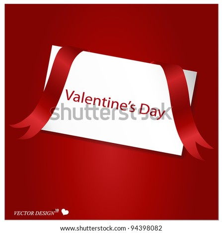 Valentine's card with red ribbon on a red background. Vector Illustration.