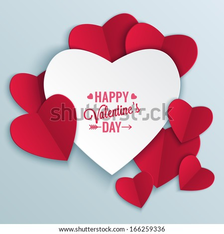 Valentine's day abstract background with cut paper heart. Vector illustration