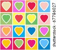 Valentine's day abstract background with multicolor hearts on grid. Seamless pattern. Vector illustration. - stock photo