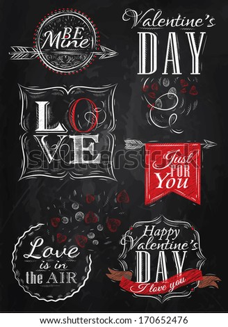 Valentine's Day and Love lettering collection of Valentine's Day from letters stylized for the drawing with chalk of red on the blackboard. Vector - stock vector