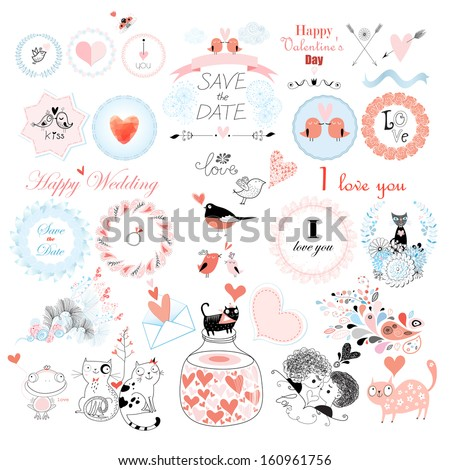 Valentine's Day and the day of the wedding set. Vector illustration.  - stock vector