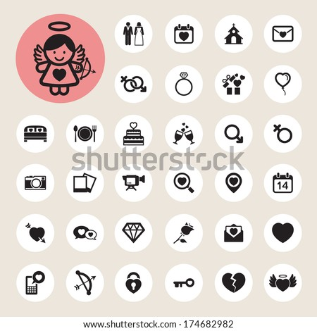 Valentine's day and wedding icons set. Illustration eps10 - stock vector