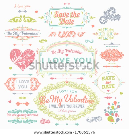 Valentine's Day and Wedding Set. Labels, Frames, Ornaments and Decorative Elements. Banner, Ribbon, badges and stickers - all for Love Design. - stock vector