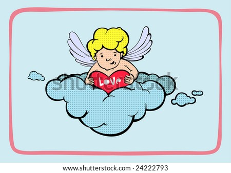 valentine's day, angel and heart - stock vector