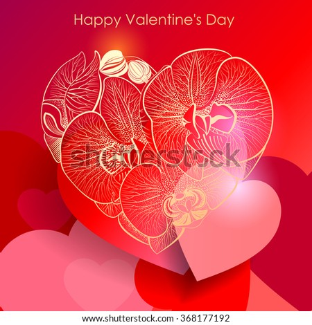 Valentine's Day background. Heart of orchids. Vector Eps 10. - stock vector