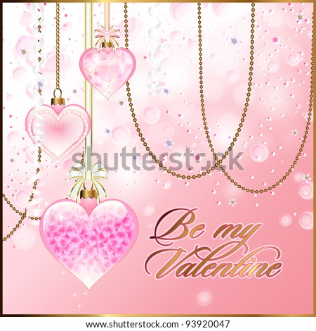 Valentine's Day Background or Greeting Card Template with transparent glassy hearts - stock vector
