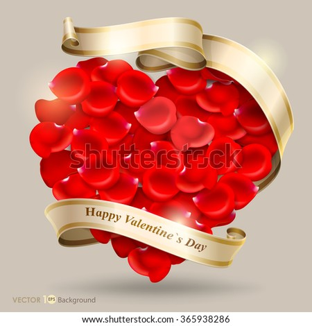 Valentine's Day background. Red heart of rose petals with ribbon. Vector Eps 10. - stock vector