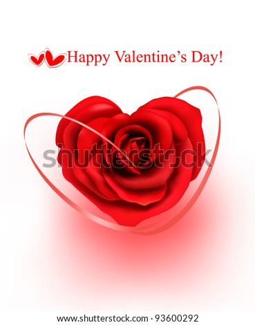Valentine`s day background. Red rose with gift red ribbons. Vector illustration - stock vector