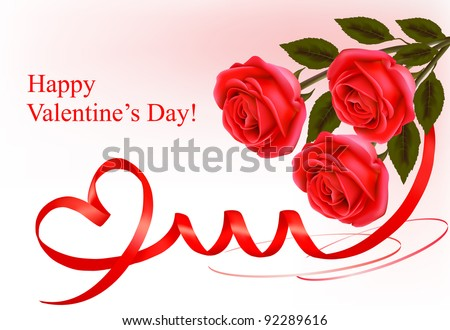 Valentine`s day background. Red roses with gift red bow. Vector illustration. - stock vector