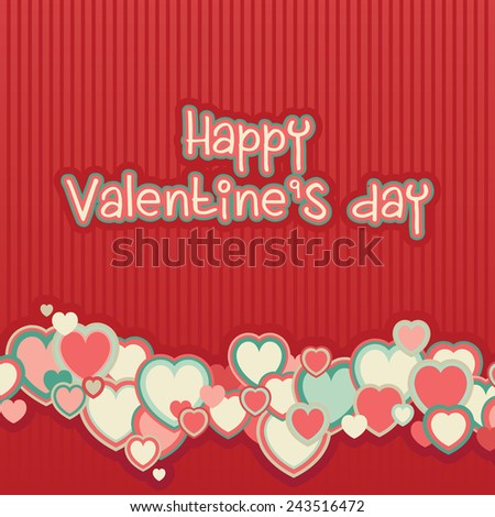 Valentine's day background. Vector red background with many color hearts and text at retro style - stock vector
