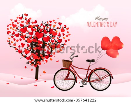 Valentine's Day background with a heart shaped tree and a bicycle with heart shaped balloons. Vector. - stock vector