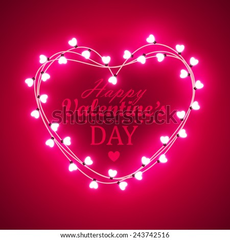 Valentine`s day background with bright lights - stock vector