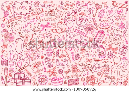 Valentine's Day background with cartoon style isolated objects. Hand drawn vector doodles on pink background.