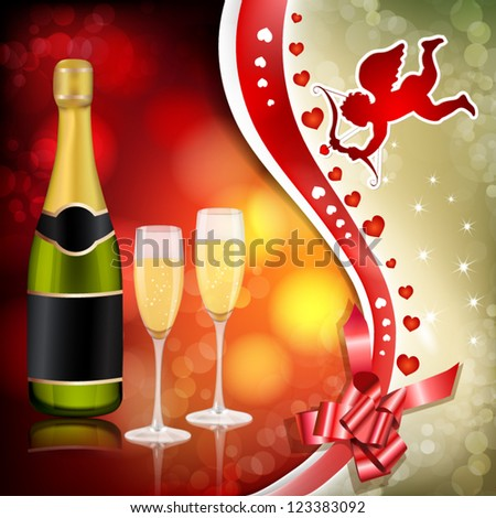 Valentine`s day background with cupid and champagne