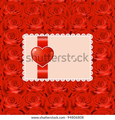 Valentine's day background with heart and roses - stock vector