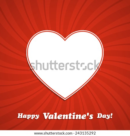 Valentine's Day background with heart frame. Vector illustration. - stock vector