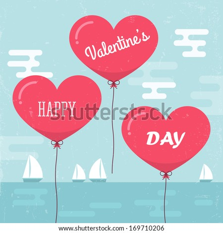 Valentine's day background with heart shape balloons. Vector illustration - stock vector