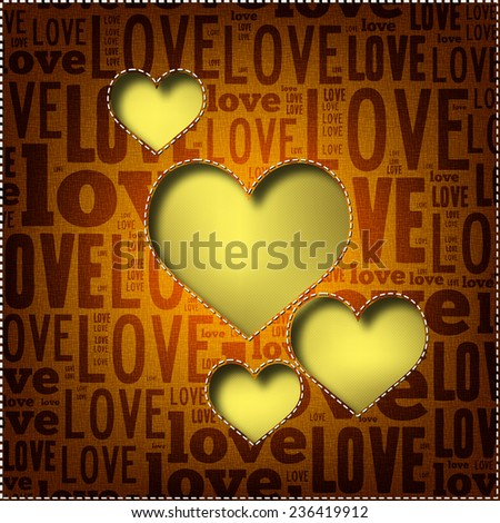 Valentine's Day background with heart shape. Love poster (EPS10 Vector) - stock vector